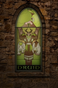 (c) Disciplinary Action - Stained Class: The Druid, stained glass