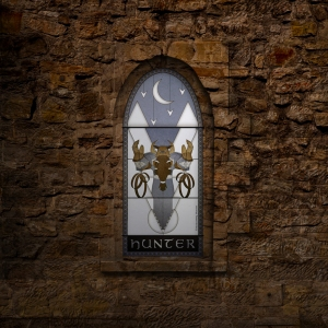 (c) Disciplinary Action - Stained Class: The Hunter, stained glass