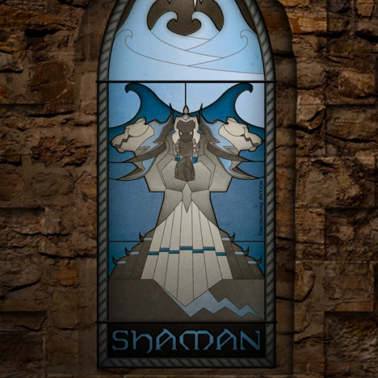 (c) Disciplinary Action - Stained Class: The Shaman, stained glass