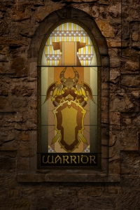 (c) Disciplinary Action - Stained Class: The Warrior, stained glass