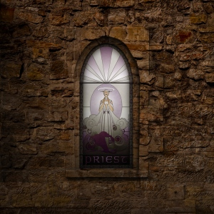 (c) Disciplinary Action - Stained Class: The Priest, stained glass
