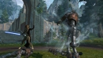 Jedi Consular combat screenshot with single-blade lightsaber. (c) Bioware
