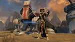 Jedi Consular screenshot with single-blade lightsaber. (c) Bioware