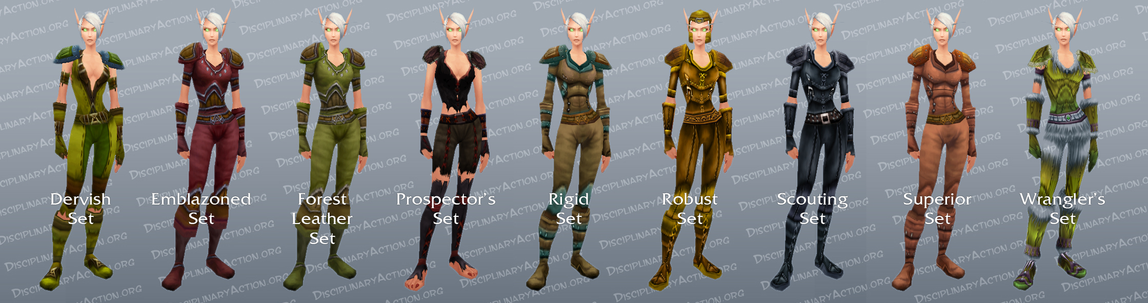 Green Leather Sets iLevel 20-30 (c) Disciplinary Action & Illustrated Leather Transmogrification Guide: Monk Druid Hunter ...