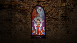 (c) Disciplinary Action - Stained Class: The Mage, stained glass