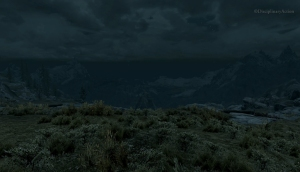Skyrim: Cliffs at Night - Still from the Moving Wallpaper (c) Disciplinary Action