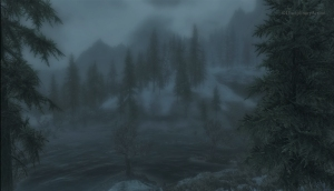 Skyrim: Hazy Woods with Clouds - Still from the Moving Wallpaper (c) Disciplinary Action