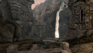 Skyrim: Markarth Marketplace Waterfall - Still from the Moving Wallpaper (c) Disciplinary Action