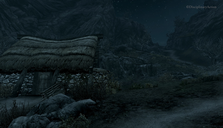 Skyrim: Starry Night with Hut - Still from the Moving Wallpaper (c) Disciplinary Action
