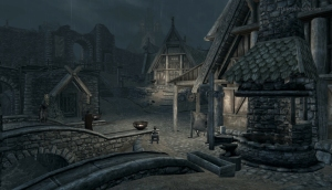 Skyrim: Whiterun Blacksmith in the Rain - Still from the Moving Wallpaper (c) Disciplinary Action